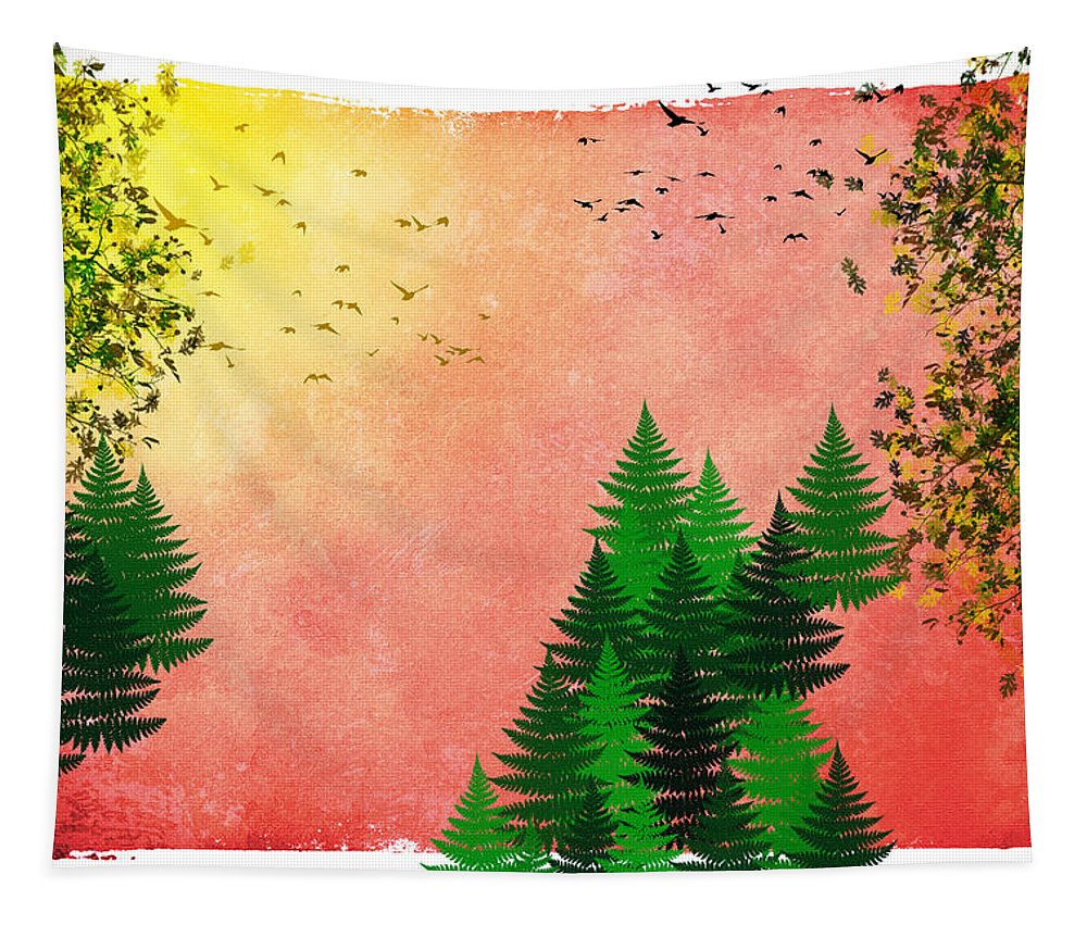 Fall Tapestry featuring the mixed media Fall Autumn Four Seasons Art Series by Christina Rollo