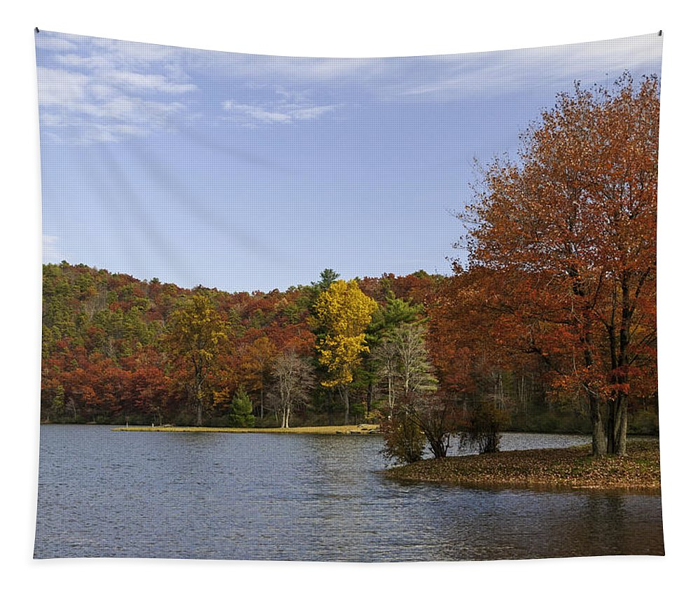 Sherando Tapestry featuring the photograph Fall Colors At Sherando Lake by Lynn Bauer