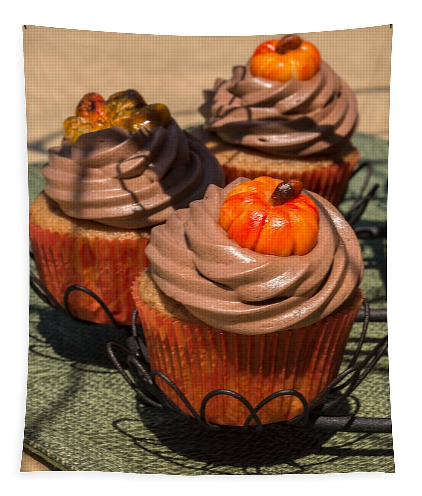 Pumpkin Cupcakes Tapestry featuring the photograph Fall Cupcakes by Iris Richardson