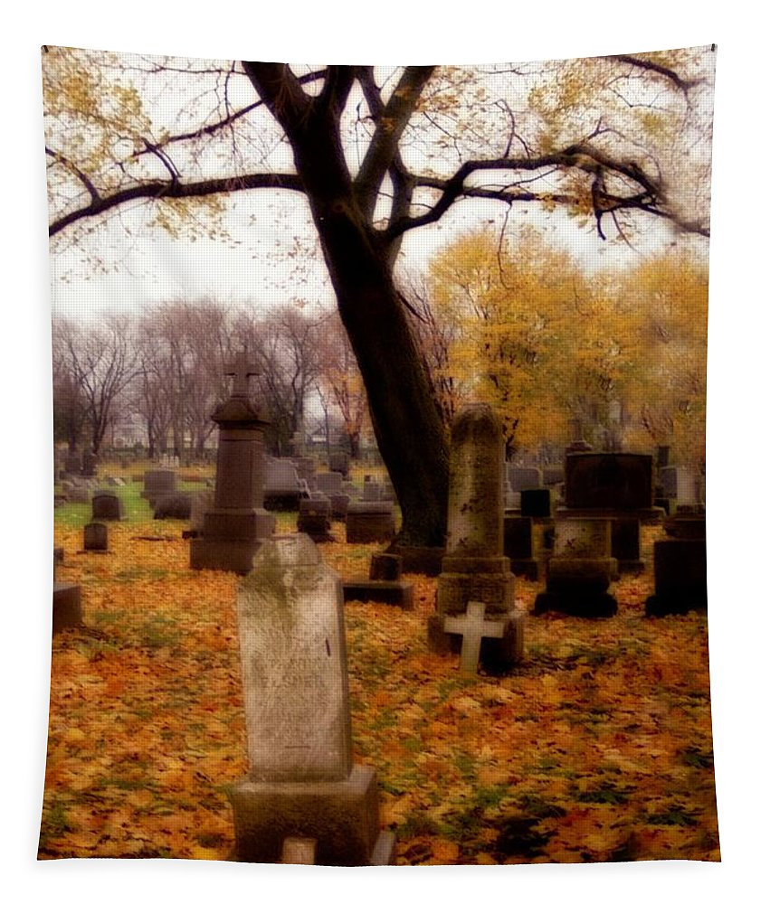 Fall Tapestry featuring the photograph Fall Graveyard by Gothicrow Images