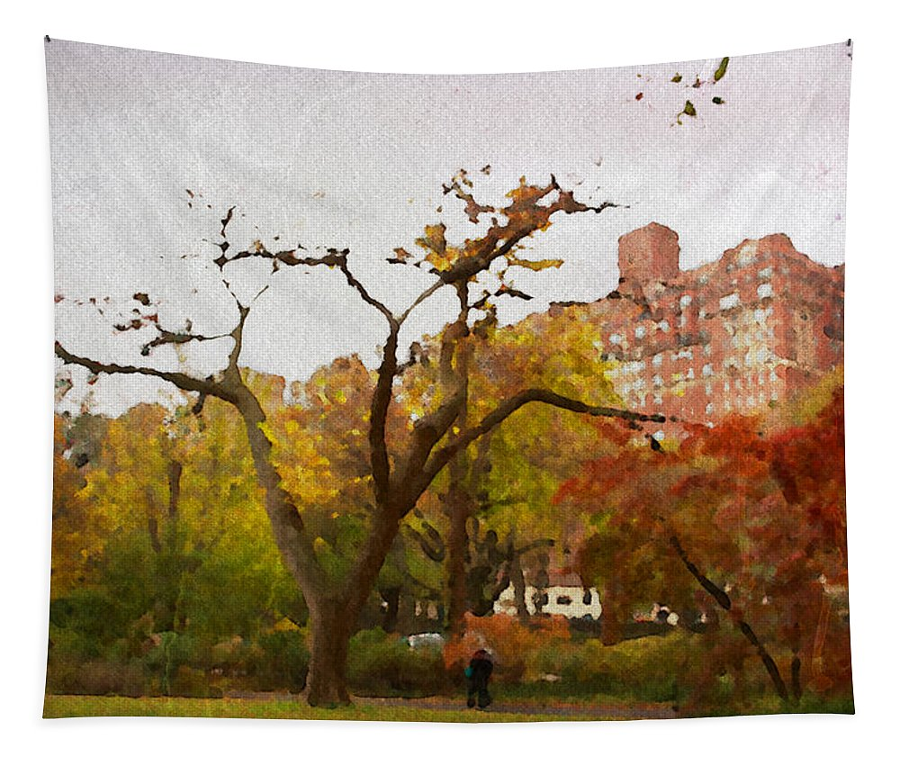 Central Park Tapestry featuring the photograph Fall In Central Park by Alice Gipson
