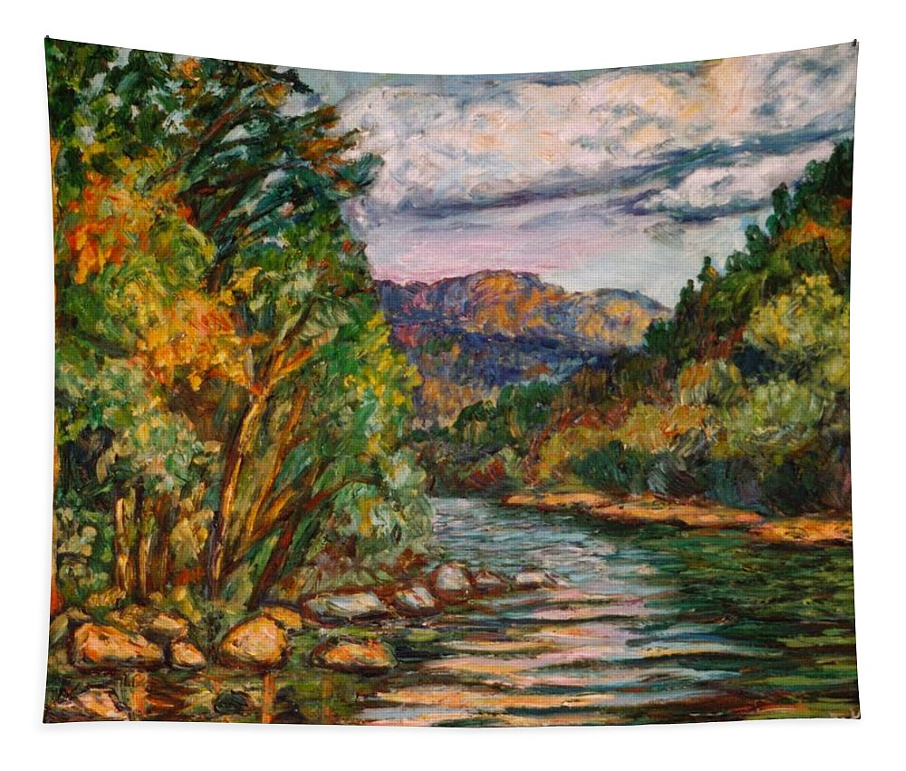 River Tapestry featuring the painting Fall New River Scene by Kendall Kessler