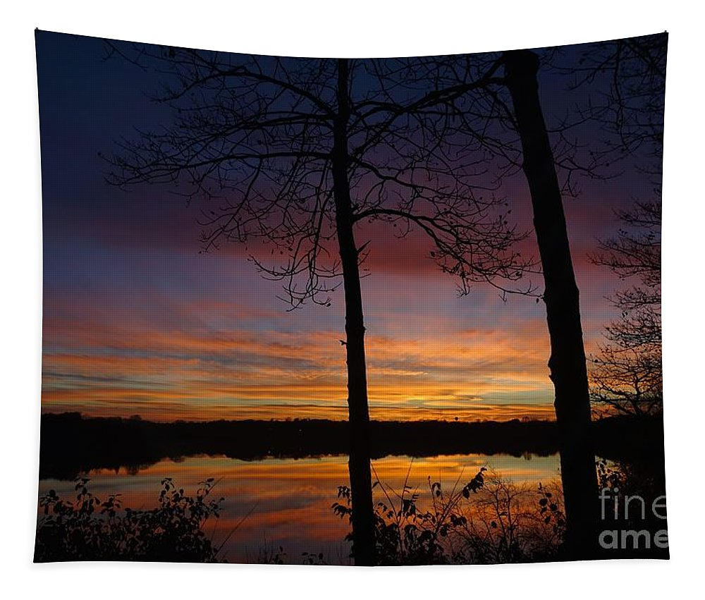 Land Tapestry featuring the photograph Fall Sunset by Jacqueline Athmann