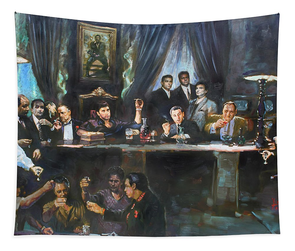 Gangsters Tapestry featuring the painting Fallen Last Supper Bad Guys by Ylli Haruni