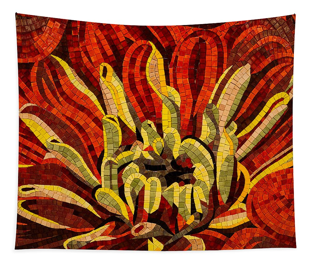 Fanciful Tapestry featuring the photograph Fanciful Bold Floral Mosaic by Georgia Mizuleva