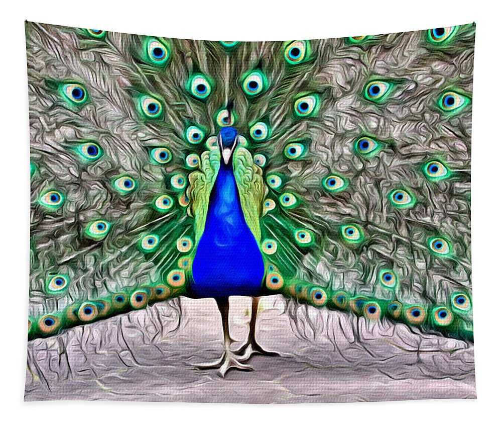 Peacock Tapestry featuring the photograph Fanning Peacock by Alice Gipson
