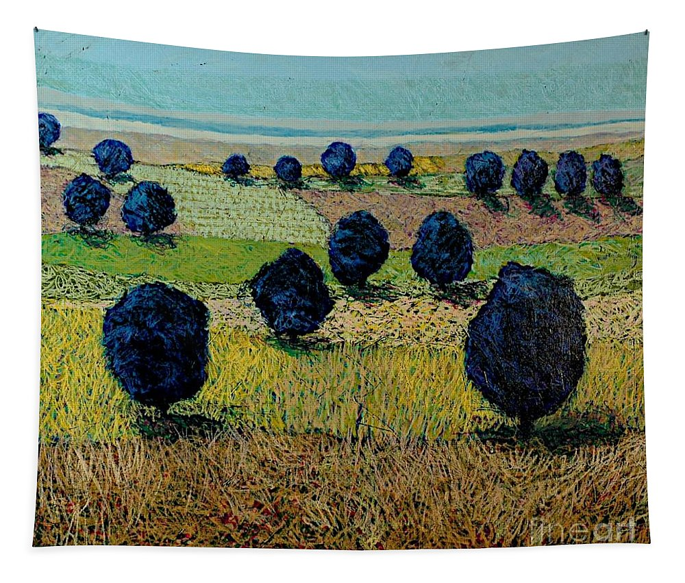 Landscape Tapestry featuring the painting Faraway Field by Allan P Friedlander