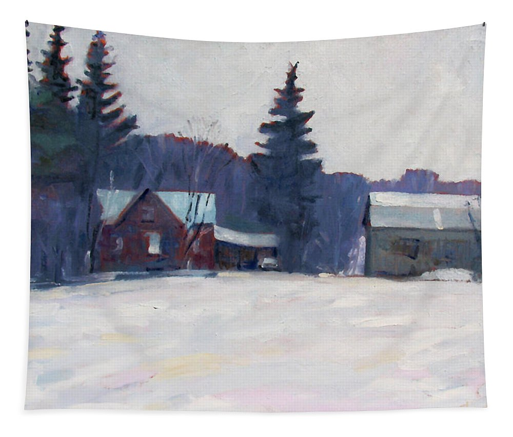 King Tapestry featuring the painting Farm In The Snow by Phil Chadwick