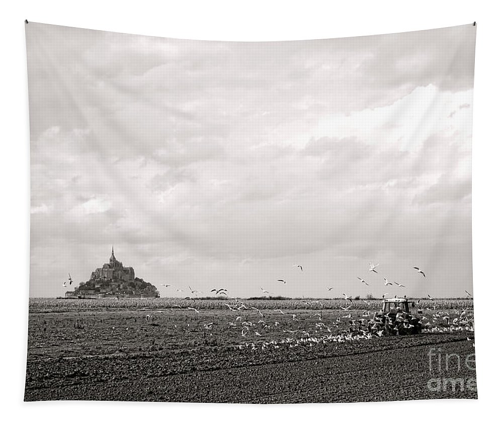 France Tapestry featuring the photograph Farm Work At Mont Saint Michel by Olivier Le Queinec