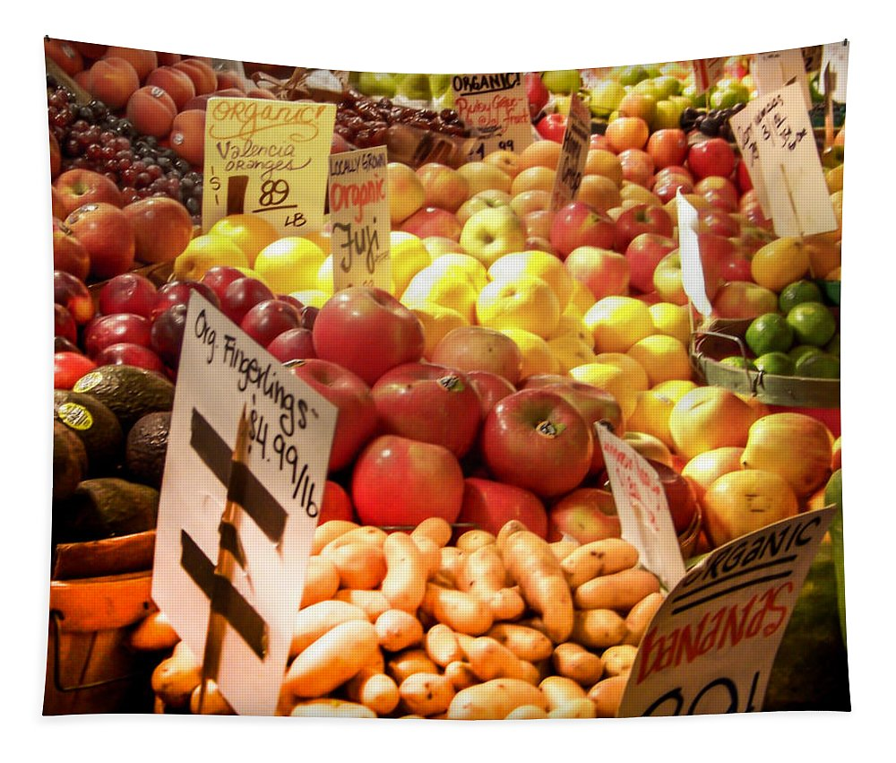 Fruits And Vegetables Tapestry featuring the photograph Farmers Market by Karen Wiles