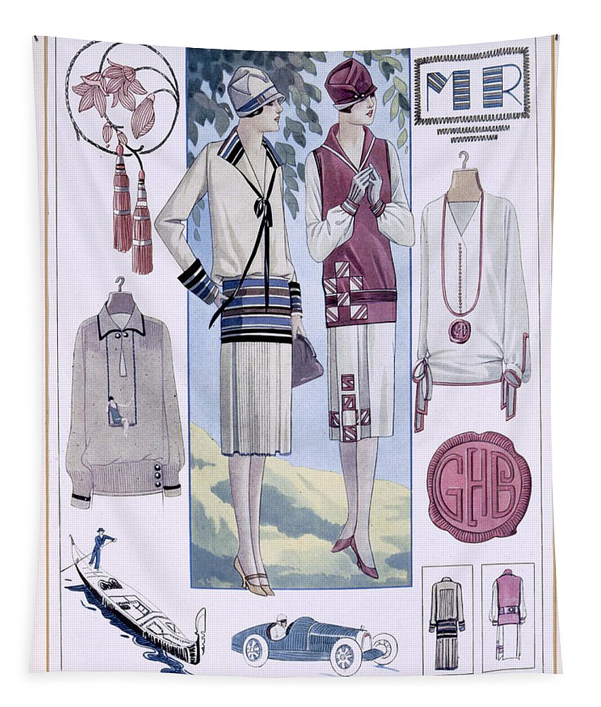 Fashion Tapestry featuring the drawing Fashion Plate, From La Femme Chic by French School