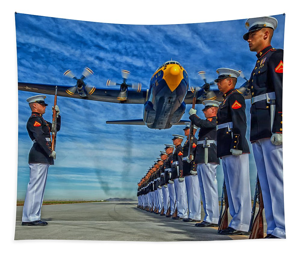 Unites States Marine Corps Tapestry featuring the photograph Fat Albert Over The Usmc Silent Drill Team by Mountain Dreams