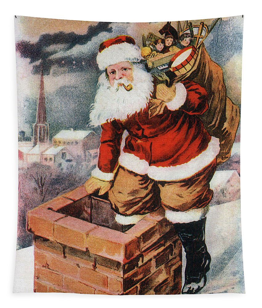 Father Tapestry featuring the digital art Father Christmas Popping Down The Chimney To Deliver Gifts To The Good. by R Muirhead Art