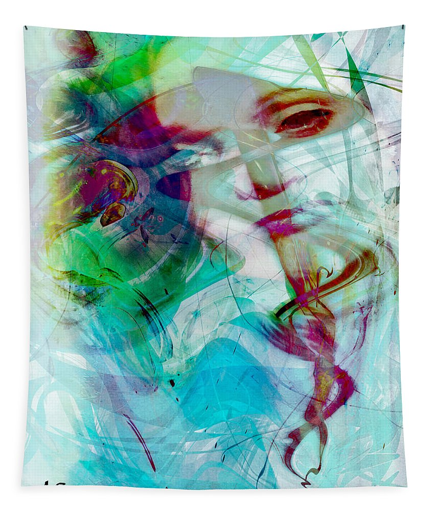 Feeling Abstract Tapestry featuring the digital art Feeling Abstract by Linda Sannuti