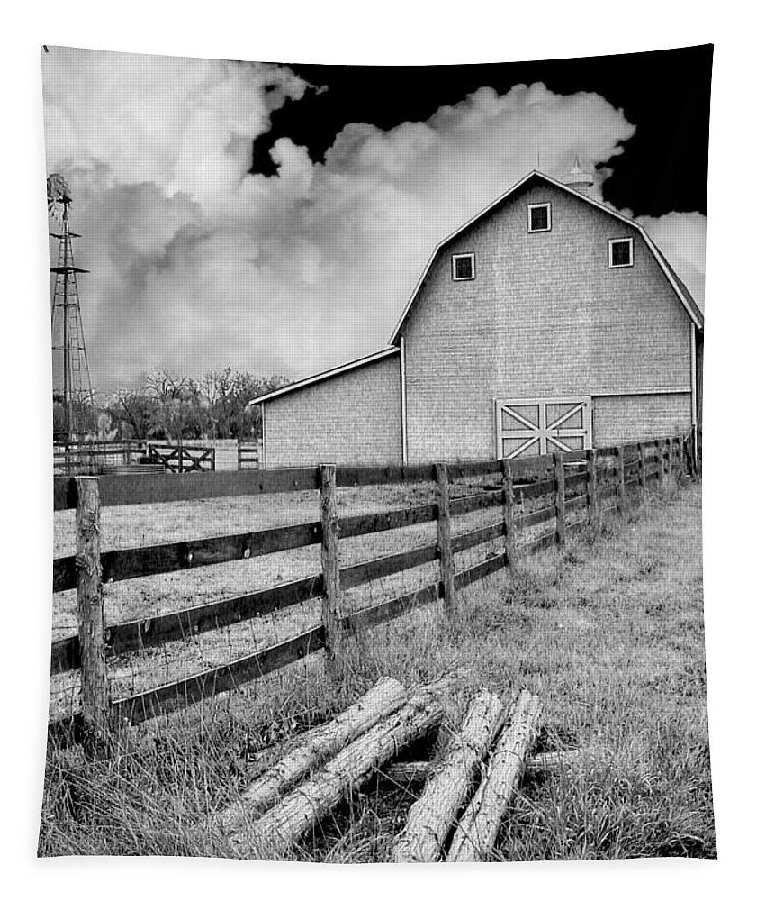 Barn Tapestry featuring the photograph Fence Posts And Barn by John Anderson
