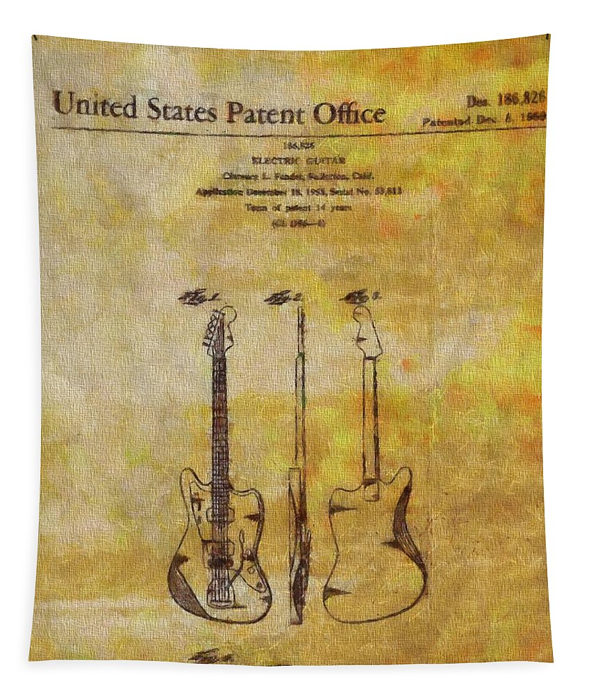 Fender Guitar Patent On Canvas Tapestry featuring the painting Fender Guitar Patent On Canvas by Dan Sproul