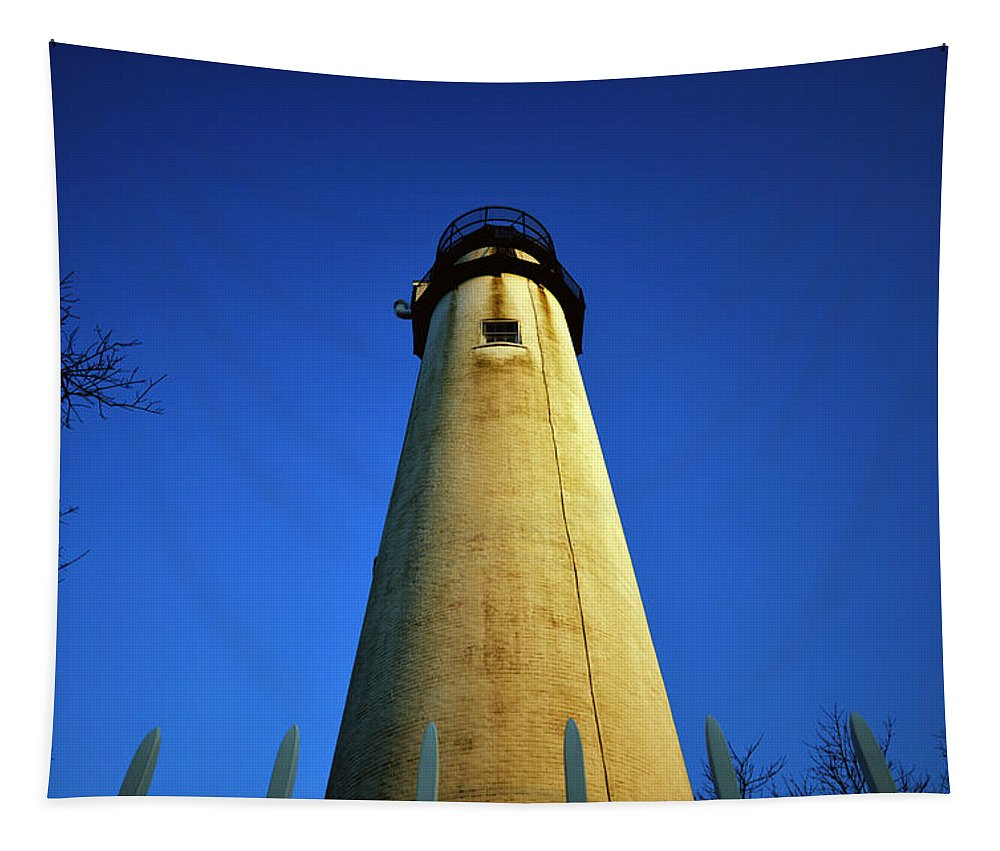 Fenwick Island Lighthouse Tapestry featuring the photograph Fenwick Island Lightouse And Blue Sky by Bill Swartwout Fine Art Photography