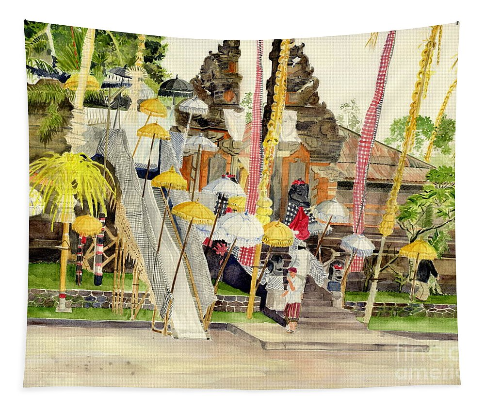 Festival At Pacung Bali Indonesia Tapestry featuring the painting Festival Hindu Ceremony by Melly Terpening