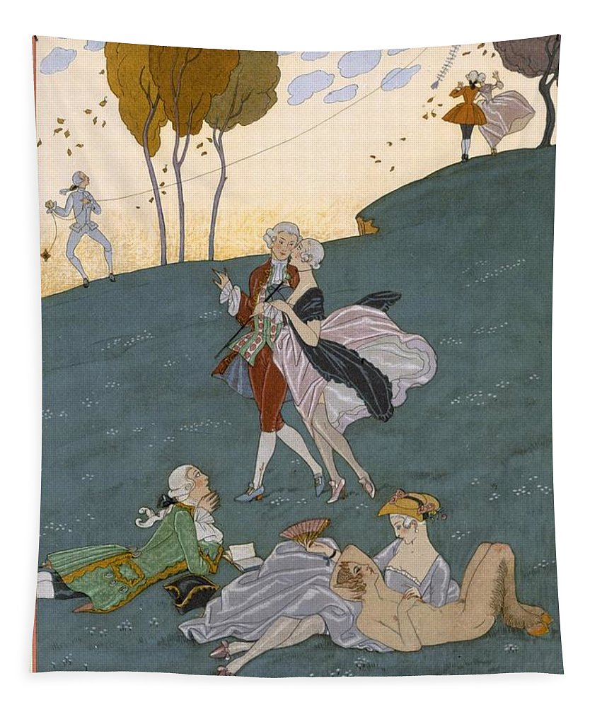 Poem Tapestry featuring the painting Fetes Galantes by Georges Barbier