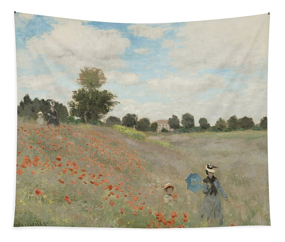 Claude Monet Tapestry featuring the painting Poppy Field by Claude Monet