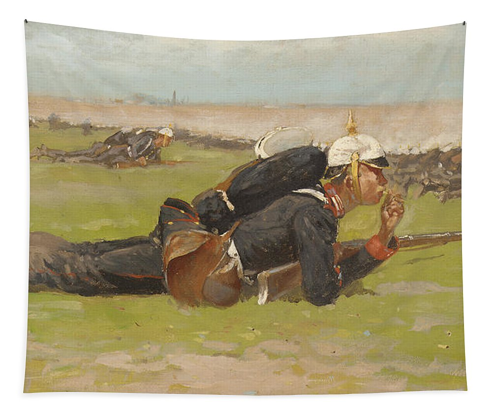 Frederic Remington Tapestry featuring the painting Field Drill For The Prussian Infantry by Frederic Remington