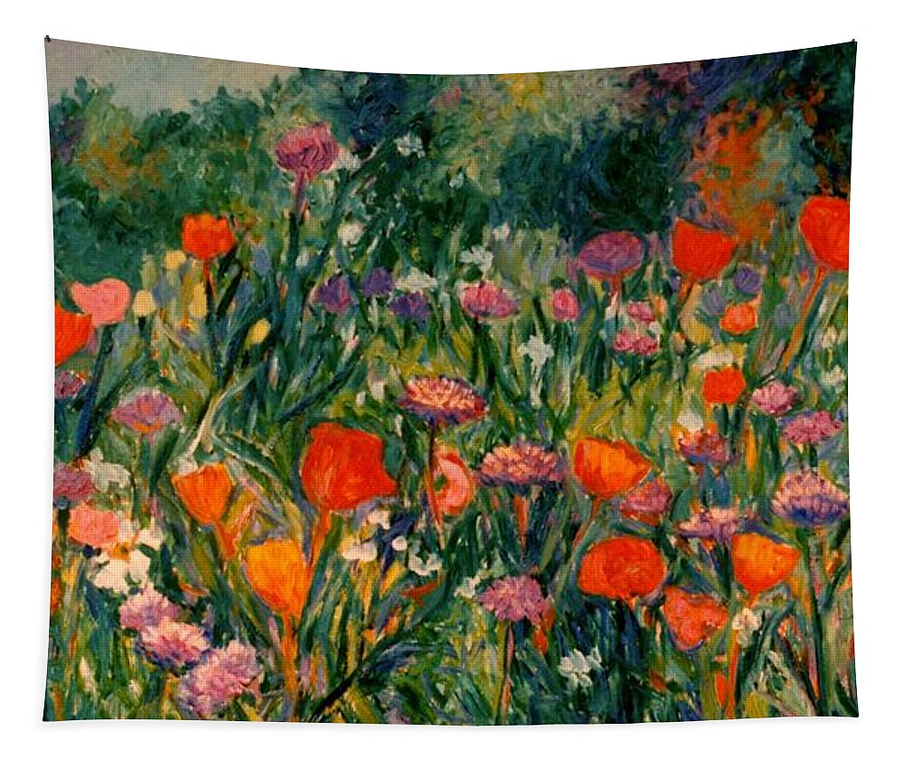 Flowers Tapestry featuring the painting Field Of Flowers by Kendall Kessler