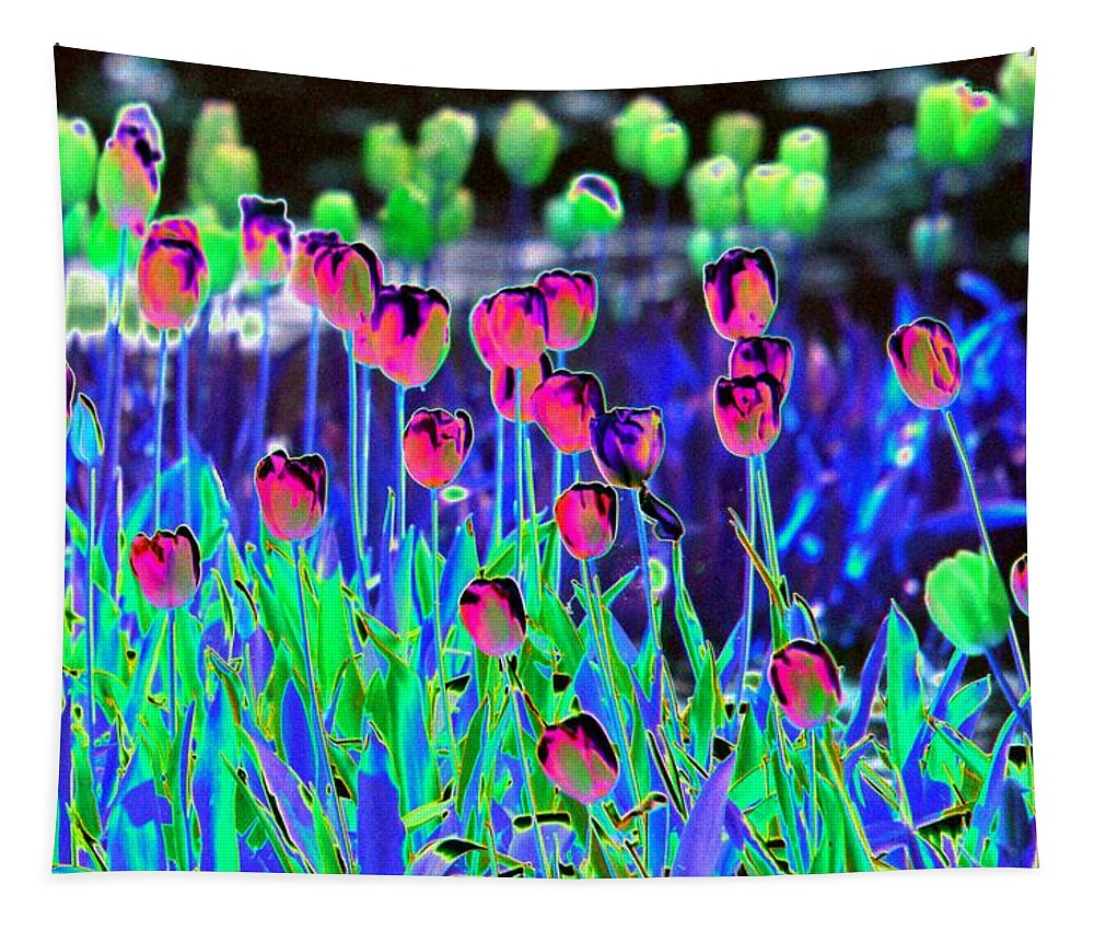 Flower Tapestry featuring the photograph Field Of Tulips - Photopower 1496 by Pamela Critchlow