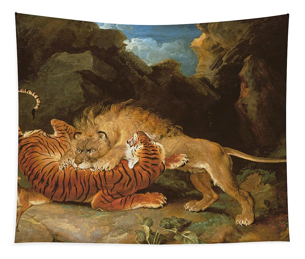 Wild Animals Tapestry featuring the painting Fight Between A Lion And A Tiger, 1797 by James Ward