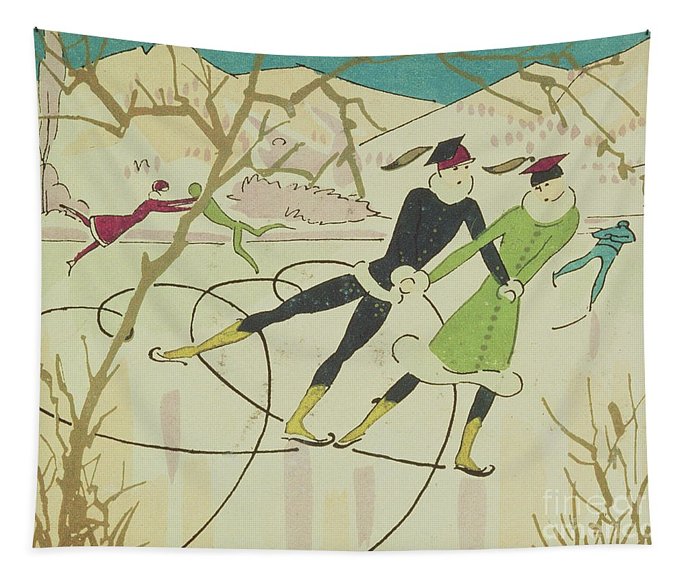 Winter Tapestry featuring the drawing Figure Skating Christmas Card by American School
