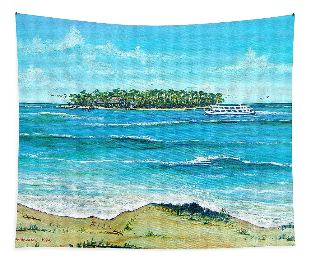 Fiji Tapestry featuring the painting Fiji Blue Lagoon by Jerome Stumphauzer