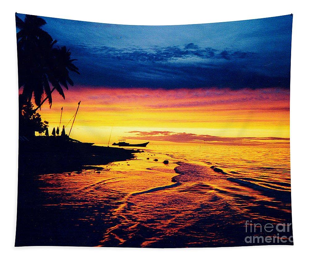 Sunset Tapestry featuring the photograph Fiji Paradise Sunset by Jerome Stumphauzer
