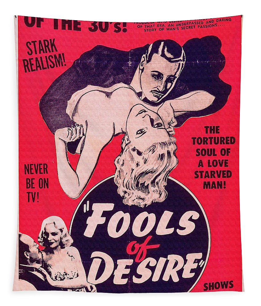 Film Tapestry featuring the digital art Film Poster Fools Of Desire 1930s by R Muirhead Art
