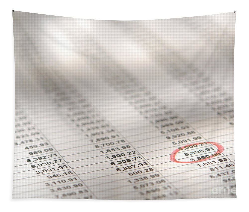 Account Tapestry featuring the photograph Financial Spreadsheet by Olivier Le Queinec