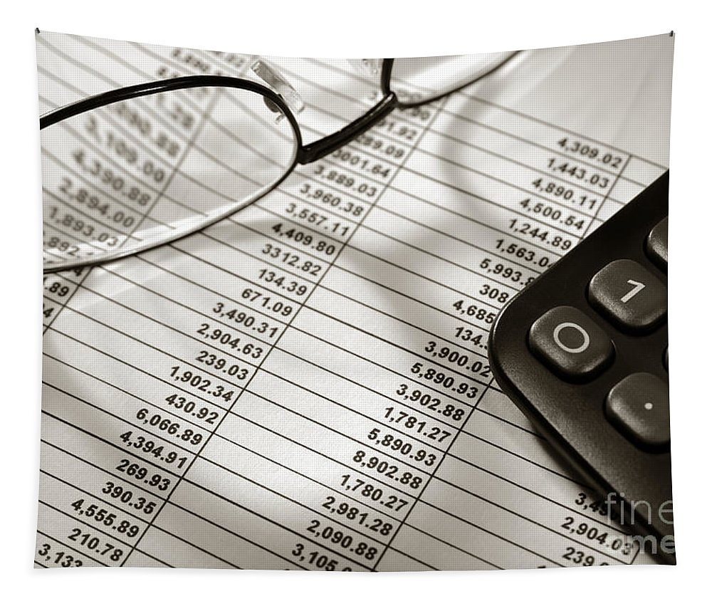 Account Tapestry featuring the photograph Financial Spreadsheet With Calculator And Glasses by Olivier Le Queinec