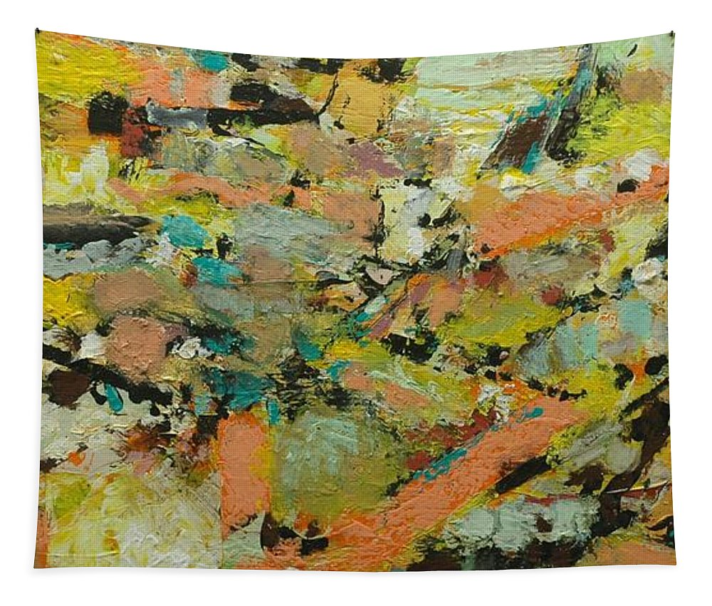 Landscape Tapestry featuring the painting Fire Bird by Allan P Friedlander