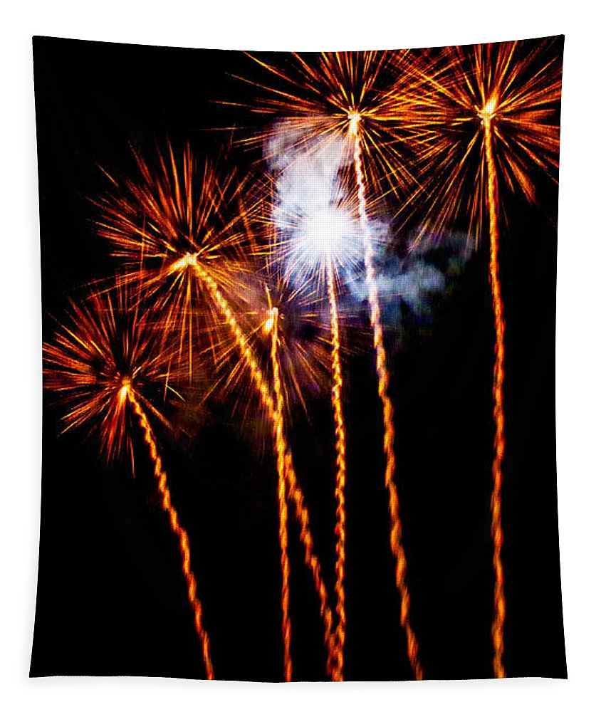 Fireworks Tapestry featuring the photograph Fire Dandelion Bouquet by Weston Westmoreland