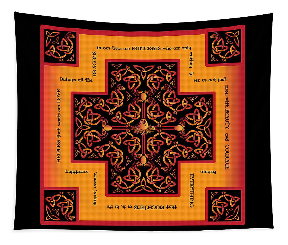Celtic Art Tapestry featuring the digital art Fire Dragon Celtic Cross by Celtic Artist Angela Dawn MacKay