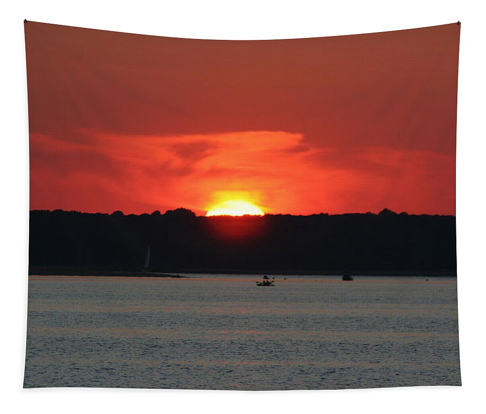 Nautical Tapestry featuring the photograph Fire In The Sky by Karen Silvestri