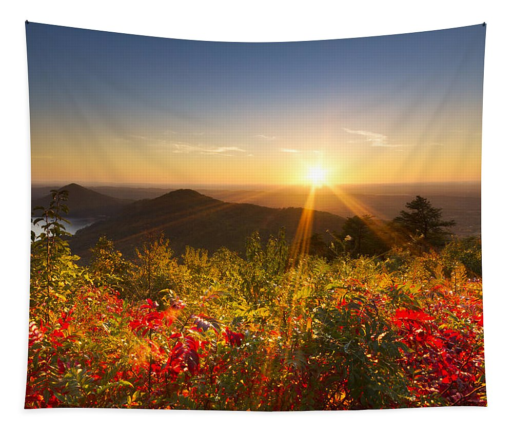American Tapestry featuring the photograph Fire On The Mountain by Debra and Dave Vanderlaan