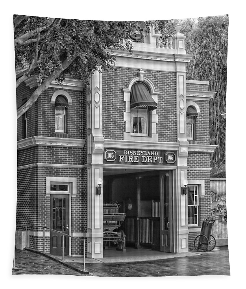Disney Tapestry featuring the photograph Fire Station Main Street Disneyland Bw by Thomas Woolworth