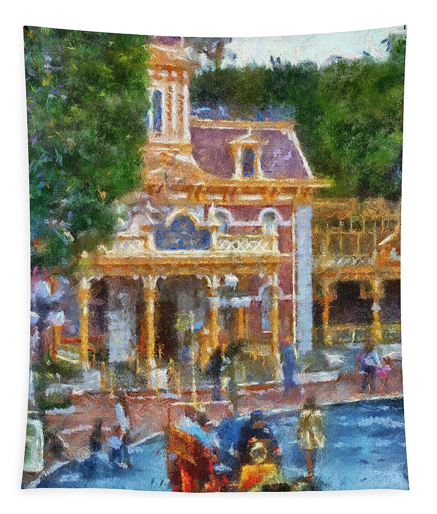 Disney Tapestry featuring the photograph Fire Truck Main Street Disneyland Photo Art 02 by Thomas Woolworth