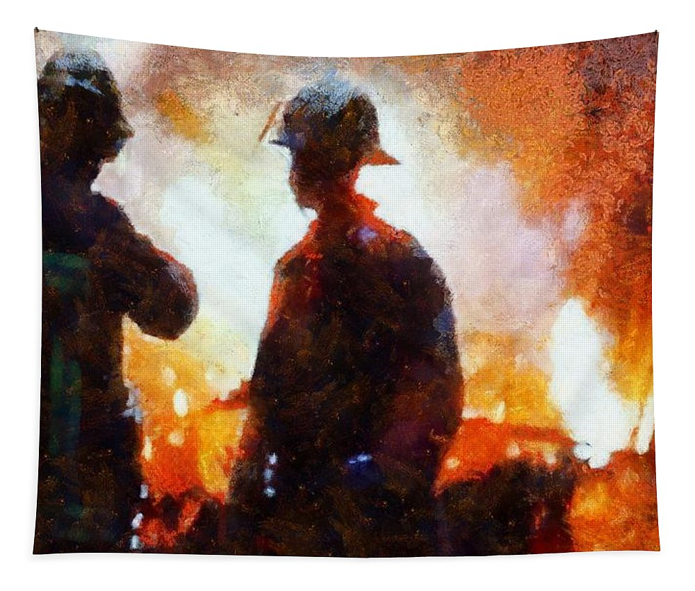 Firefighters At The Scene Tapestry featuring the painting Firefighters At The Scene by Dan Sproul