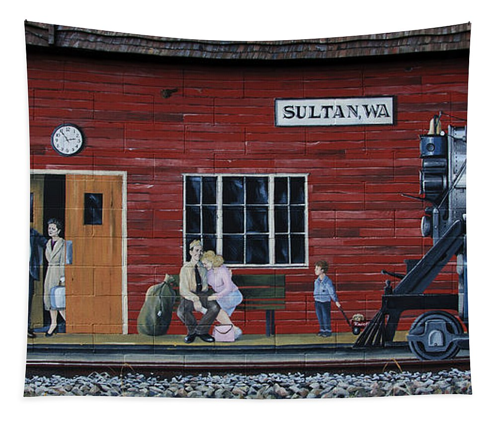 Train Tapestry featuring the photograph Train Station Mural Sultan Washington 3 by Bob Christopher