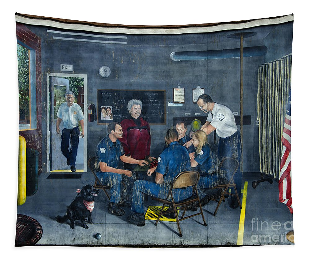 Firehall Tapestry featuring the photograph Firehall Mural Sultan Washington 4 by Bob Christopher