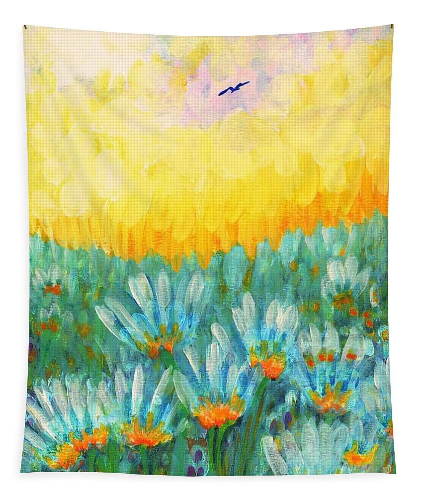 Orange Tapestry featuring the painting Firelight by Holly Carmichael