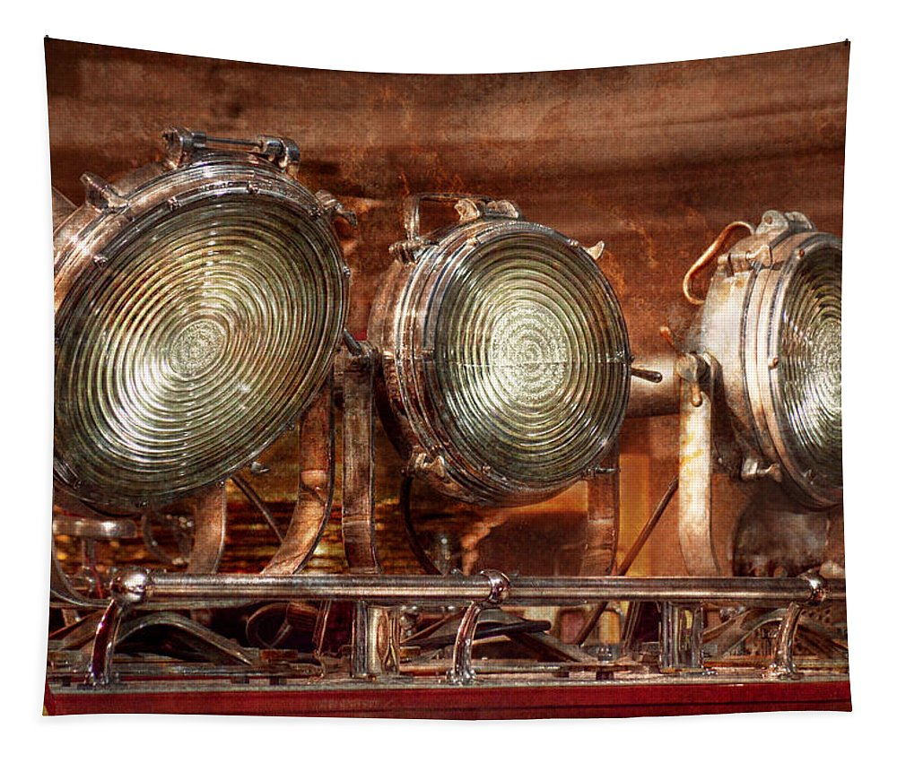 Fireman Tapestry featuring the photograph Fireman - Search Lights by Mike Savad
