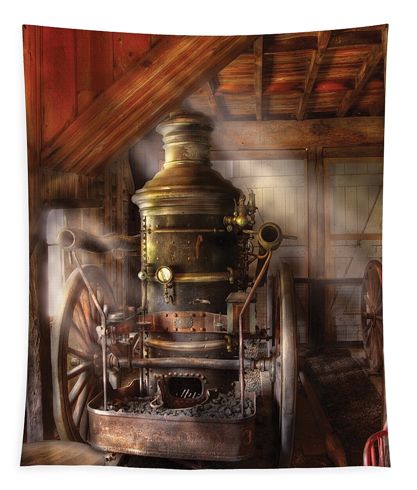 Savad Tapestry featuring the photograph Fireman - Steam Powered Water Pump by Mike Savad