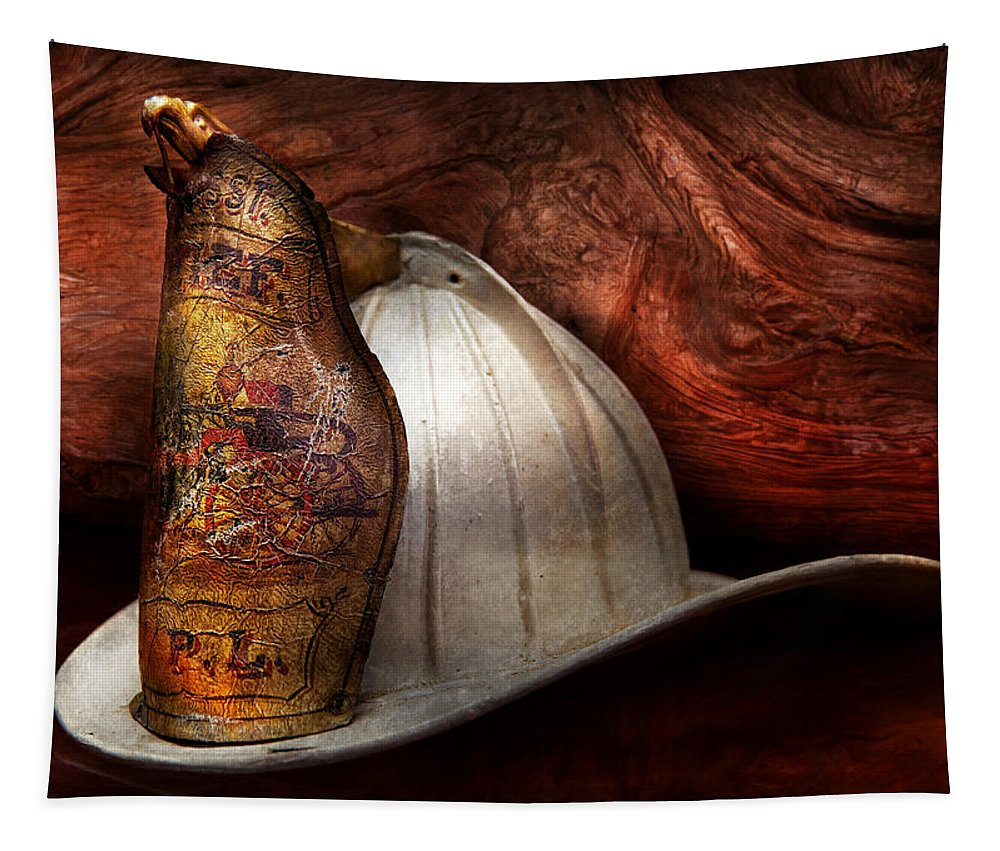 Savad Tapestry featuring the photograph Fireman - The Fire Chief by Mike Savad