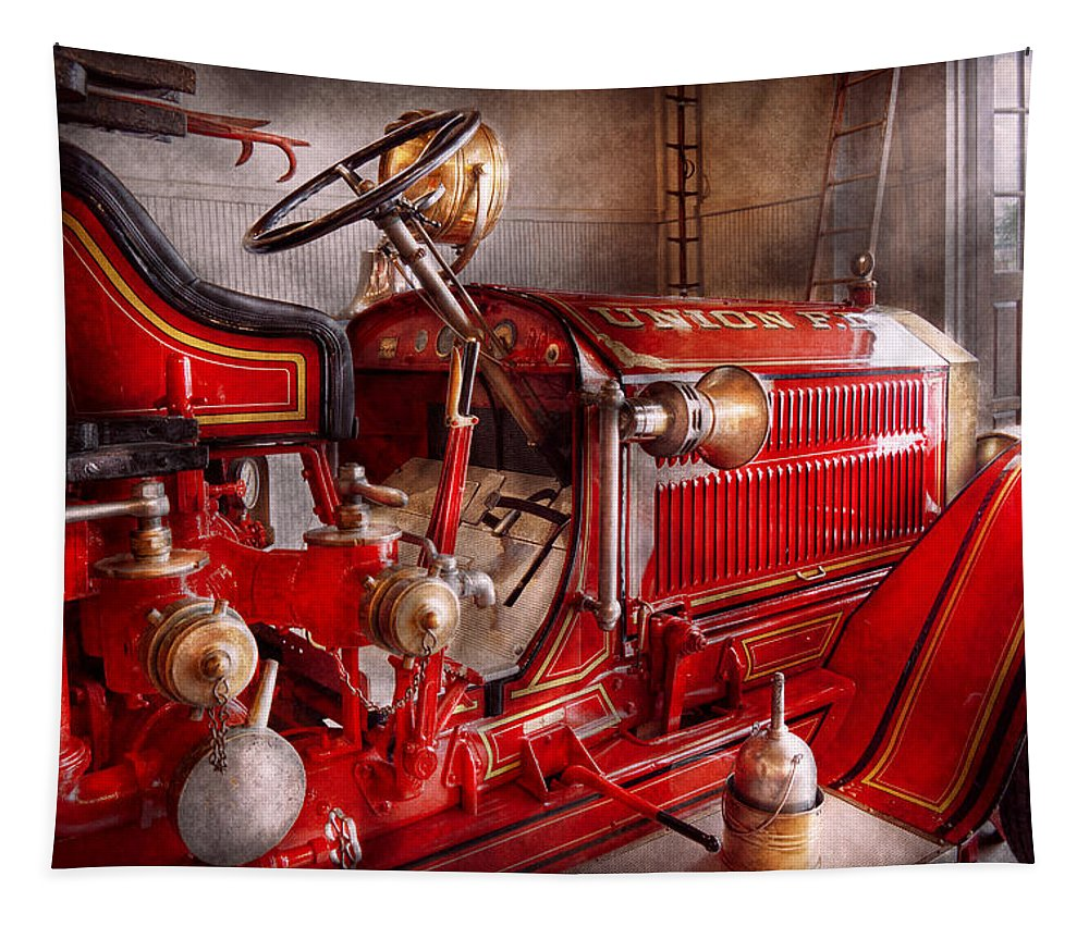 Fireman Tapestry featuring the photograph Fireman - Truck - Waiting For A Call by Mike Savad