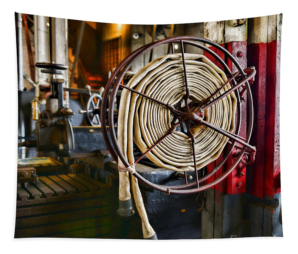 Paul Ward Tapestry featuring the photograph Fireman - Vintage Fire Hose by Paul Ward